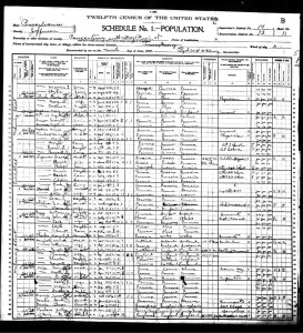 Joseph Lander Lee and Florence, 1900 US Census, Jefferson, Pennsylvania