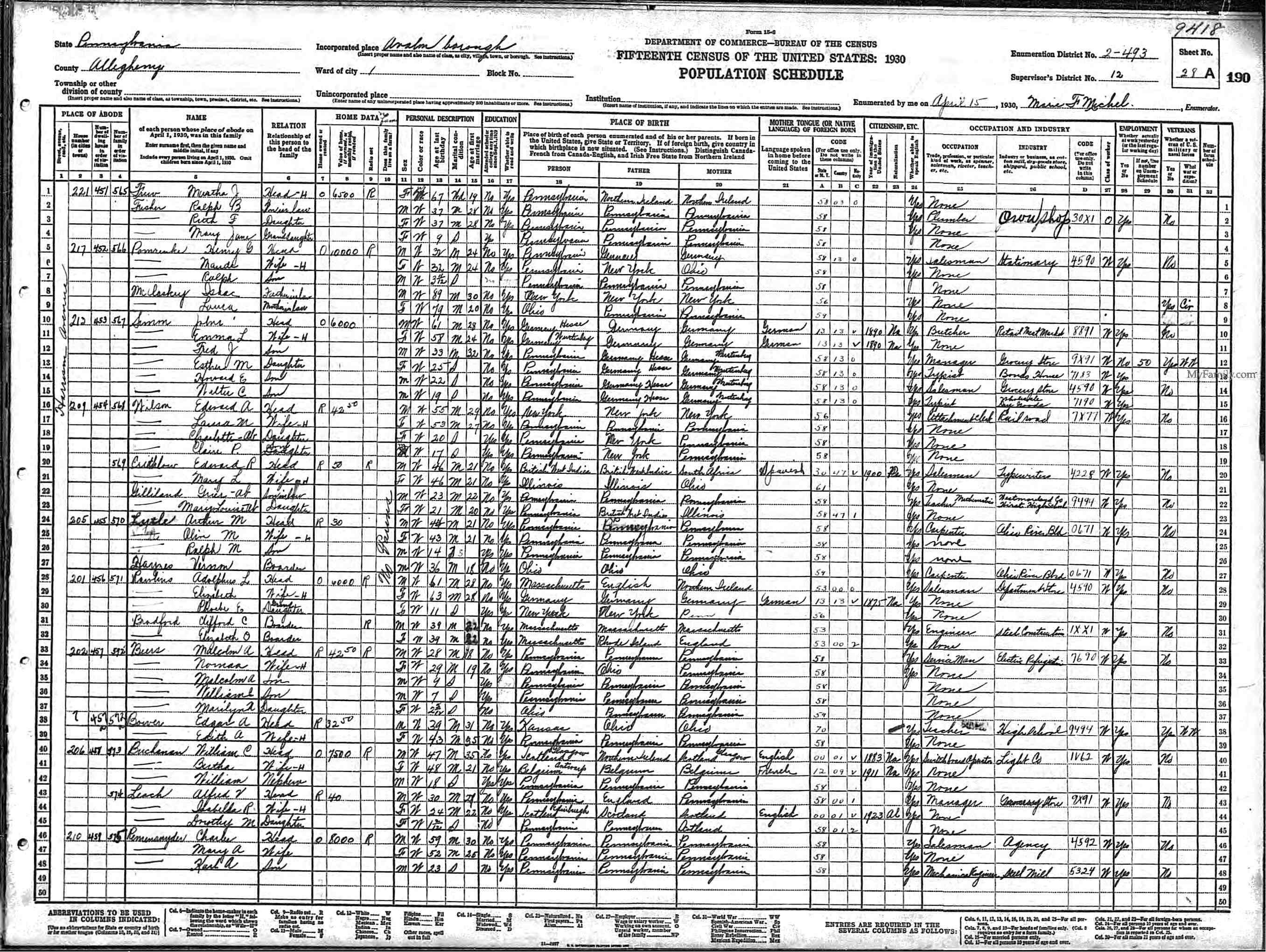 Isaac McClaskey, Laura and Maude McClaskey, 1930 US Census