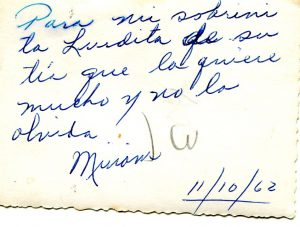 Message on back of picture by Miriam, 1962, Cuba