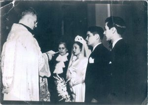Wedding, Carmen Olga Canete, Benito Permuy. Also: Raul Buenaventura Canete (Carmen's father), and Isabel Marin. Cuba 1947 or 1948