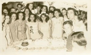 Quinces of Carmen Canete Permuy in Cuba, Michela to the right. 1940s Cuba