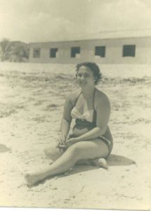 Carmen Canete Permuy on the beach in Cuba before Castro