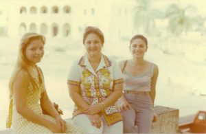 Carmen Permuy vacation to Santo Domingo. Left to right: Fatima Uma Veras, Carmen Olga Canete Permuy, Maria Lourdes Veras; visiting the family of Silvio Veras in Dominican Republic