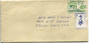 Letter envelope 10-3-1975 from Silvio Veras to Maria