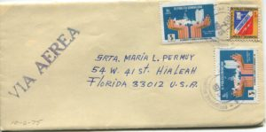 Letter envelope 10-6-1975 from Silvio Veras to Maria