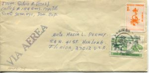 Letter envelope 10-15-1975 from Silvio Veras to Maria