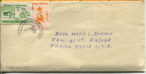 Letter envelope 10-21-1975 from Silvio Veras to Maria