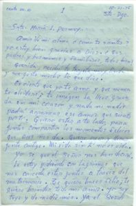 Letter from Silvio Veras to Maria 10-21-1975, page 1