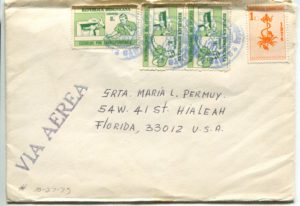 Letter envelope 10-27-1975 from Silvio Veras to Maria