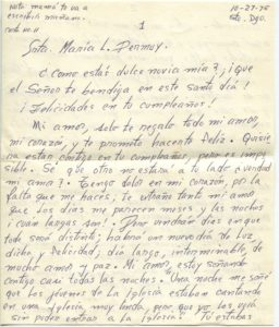 Letter from Silvio Veras to Maria 10-27-1975, page 1