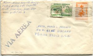 Letter envelope 10-30-1975 from Silvio Veras to Maria