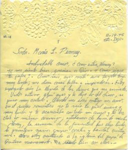 Letter from Silvio Veras to Maria 11-19-1975, page 1
